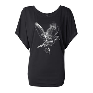SMOKE DOVE DOLMAN TEE BLACK WOMENS
