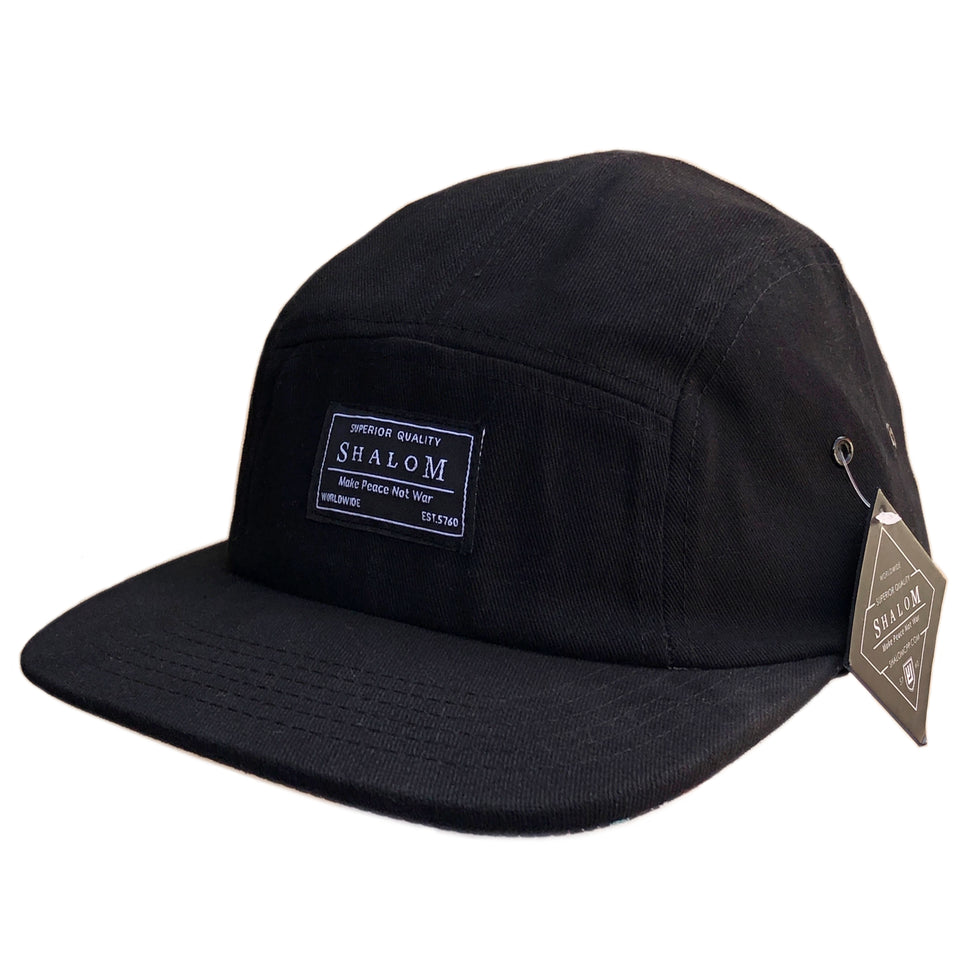 Description: 100% Cotton 5 panel hat with our shalom superior quality label on the front - With an adjustable strapback closure for a custom fit, the cap is complete with a SHALOM woven label at back.
