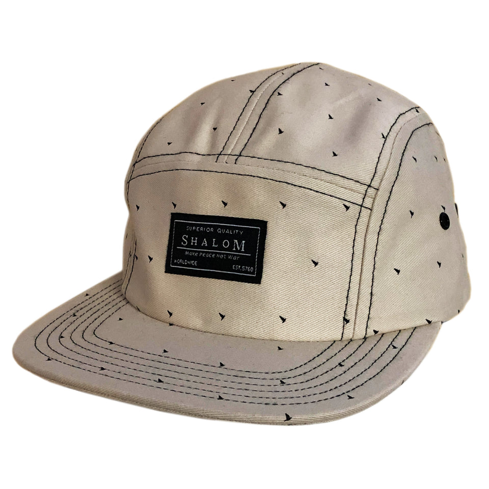 Description: 100% Cotton 5 panel hat printed with our micro dove logo and with shalom woven label - This hat was a sample and never produced in production. Only 1 was made, so if you have this hat you will be the only person to have it. Adjustable