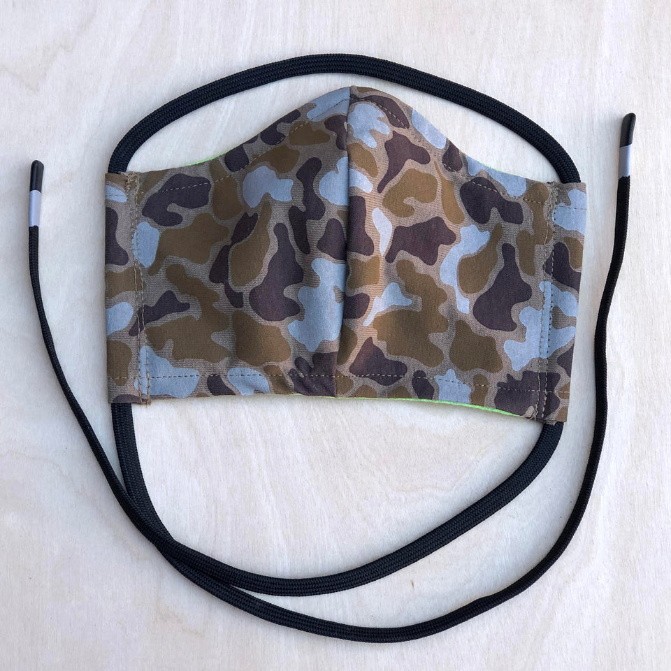Shalom Clothing Duck Camo Face Covering Safari & Lime