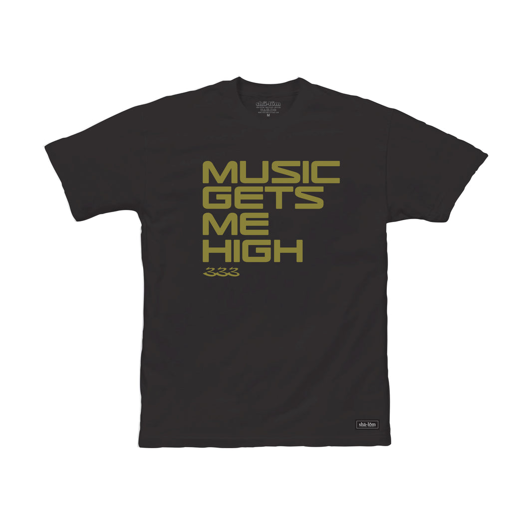 In collaboration with Shalom Tribesmen RA-BE 333, this Music Gets Me High t-shirt is the name of RA-BE 333's EP released 11/11/2020 The title represents the elevated state that good music has the power to bring us to. If you feel the message, ROCK IT loud and proud and let people know:  MUSIC GETS ME HIGH!!!