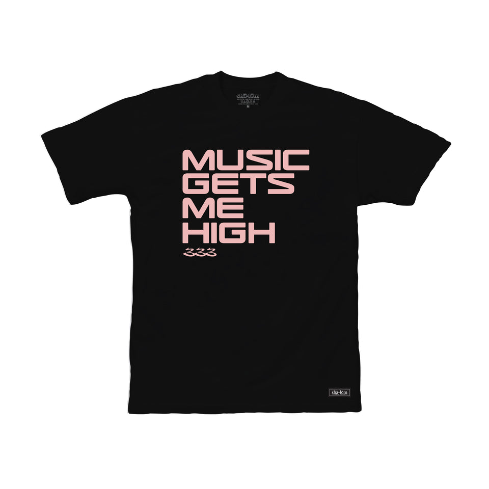 RA-BE 333 Music Gets Me High Tee mens black and Pink