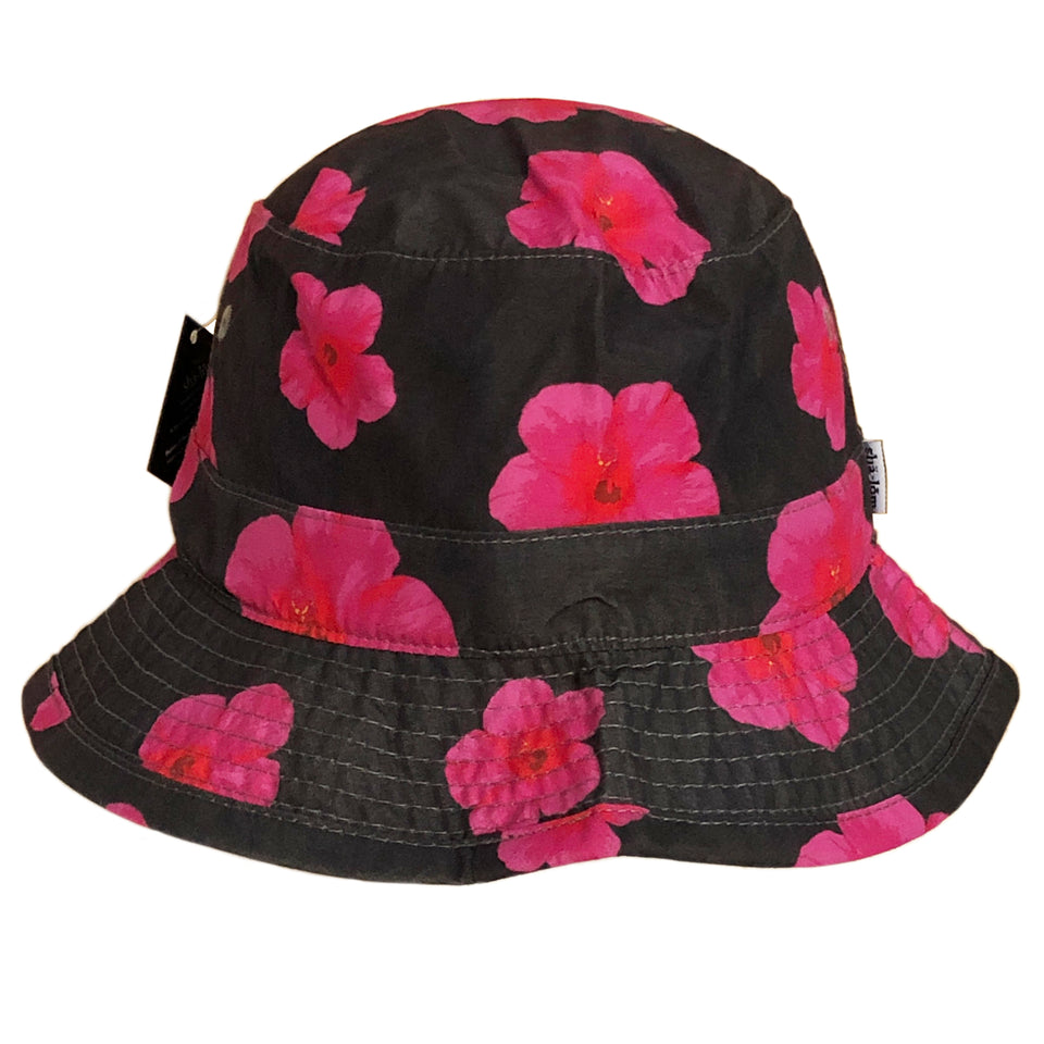 Description: 100% Brushed Cotton bucket hat printed with our custom hibiscus pineapple print and our signature shalom woven tab label - This hat was a sample and never produced in production. Only 1 was made, so if you have this hat you will be the only person to have it. One size fits most