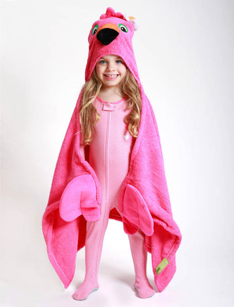 Kids Flamingo Hooded Towel