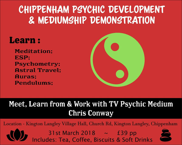 Chris Conway Psychic Workshop - Chippenham - 31st March 2018