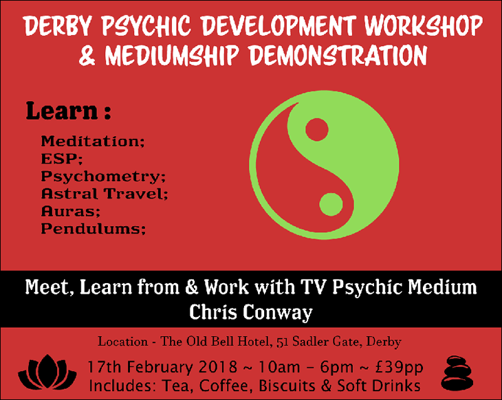 Chris Conway Psychic Workshop - Derby - 17th February 2018