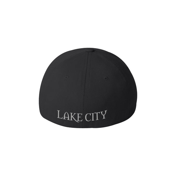 Lake City Clothing flagship hat in black with reflective Lake City graphic