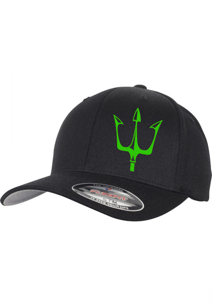 Lake City Clothing flagship hat in black with reflective trident graphic in green
