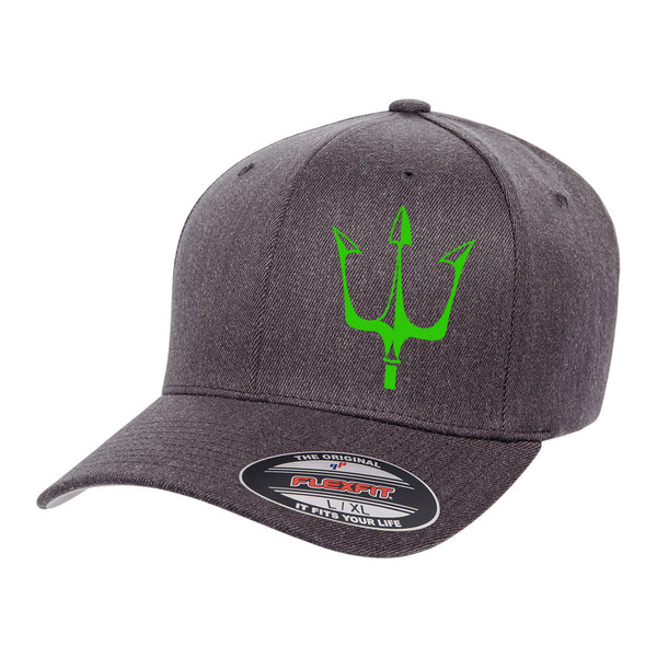 Lake City Clothing flagship hat in dark gray with reflective trident graphic in green