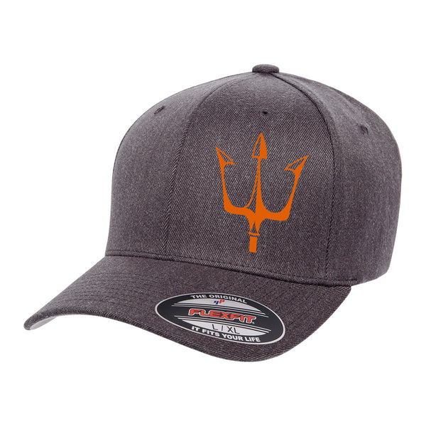 Lake City Clothing flagship hat in dark gray with reflective trident graphic in orange