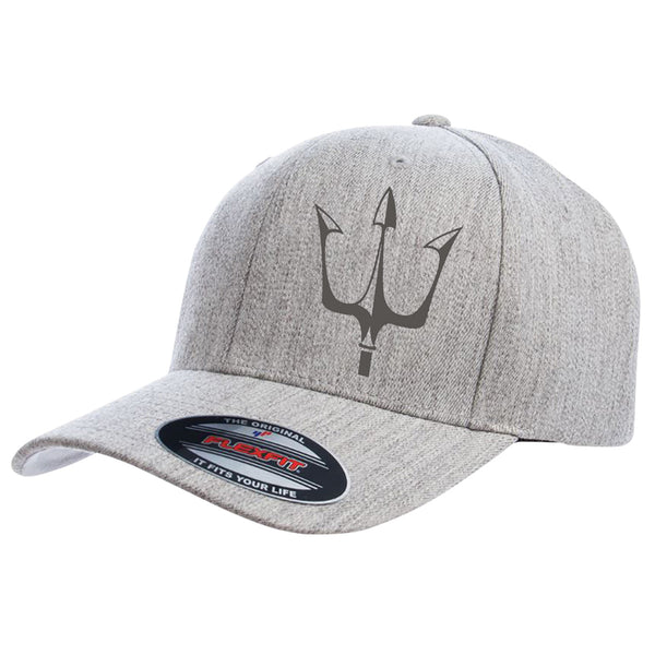 Lake City Clothing flagship hat in gray with reflective trident graphic in black