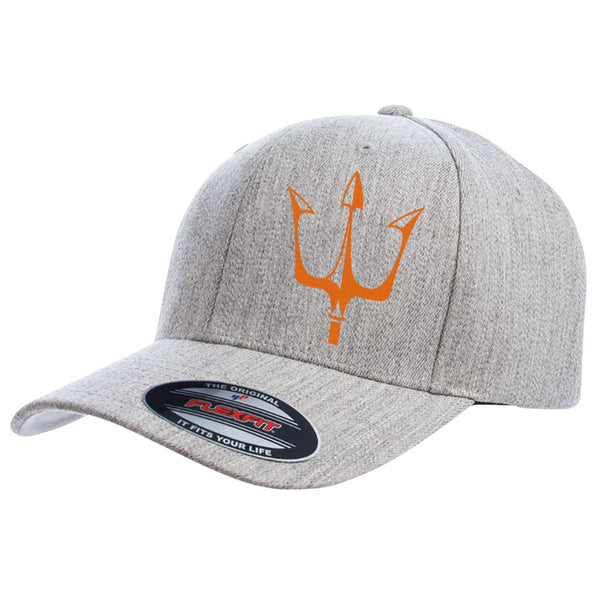 Lake City Clothing flagship hat with reflective trident graphic in orange