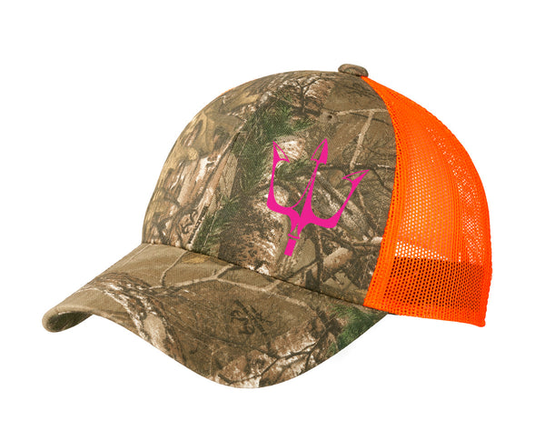 Realtree XTRA hat with reflective Lake City Clothing graphic in pink