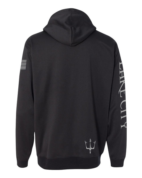 Black knit fleece hoodie with reflective graphics