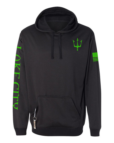 Black knit fleece hoodie with reflective trident graphic in green