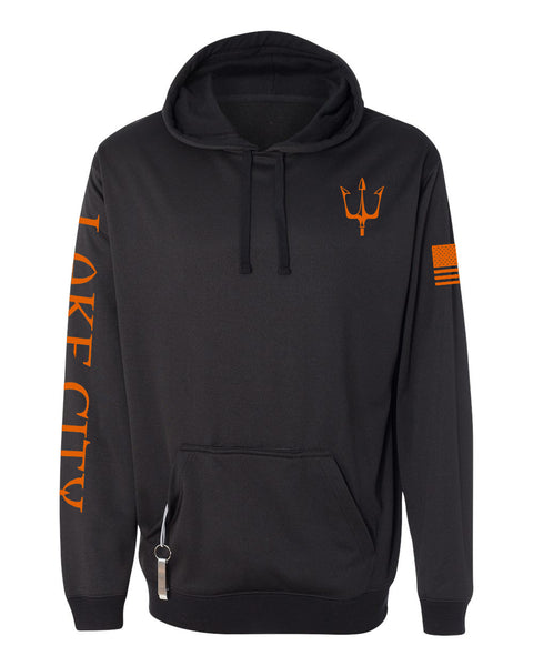 Black knit fleece hoodie with reflective trident graphic in orange