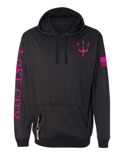 Black knit fleece hoodie with reflective graphic in pink