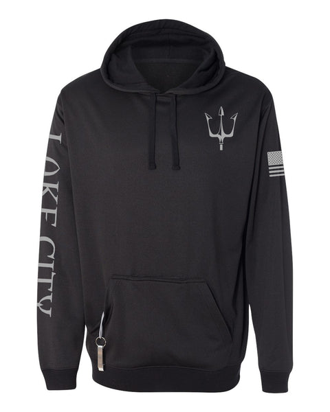 Black knit fleece hoodie with reflective trident graphic