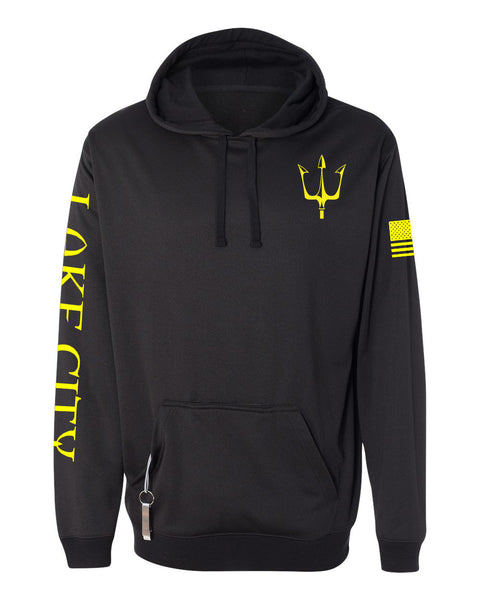 Black knit fleece hoodie with reflective trident graphic in yellow