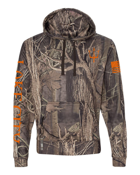 Lake City Clothing reflective hoodie in leaf camouflage for men