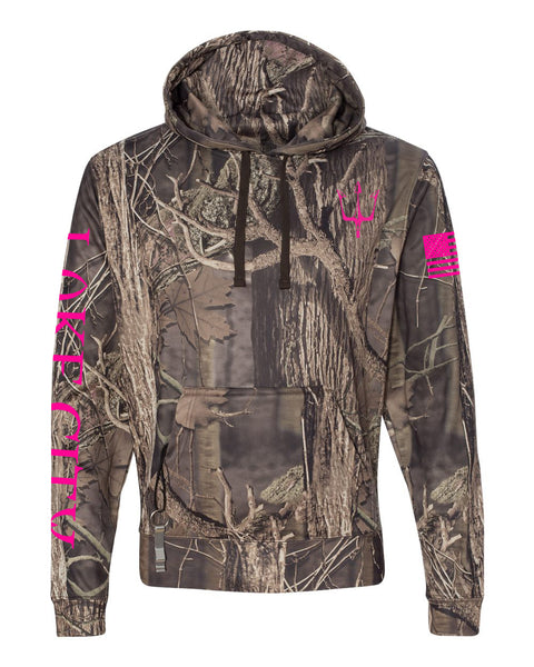 Reflective hoodie in twig camouflage print for women