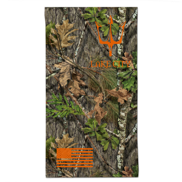 Reflective gaiter in Mossy Oak Obsession camouflage with Lake City Clothing trident graphic