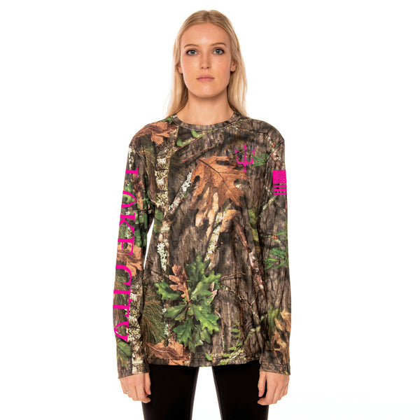 high visibility mossy oak obsession camouflage T-shirt with reflective graphic in pink