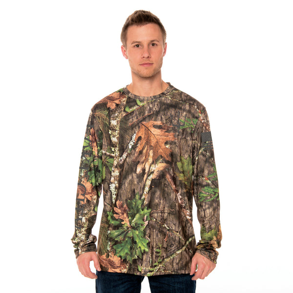 high visibility Mossy Oak Obsession camouflage T-shirt with reflective graphic