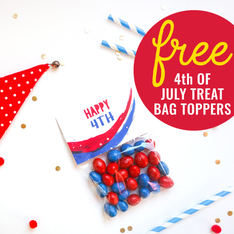 FREE 4th of July Treat Bag Toppers - Just download, edit and print!