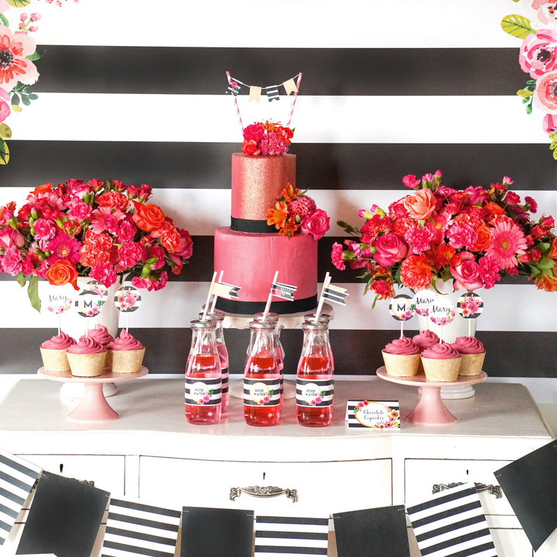 Black and White Striped Floral Party Table  - Perfect for any Celebration