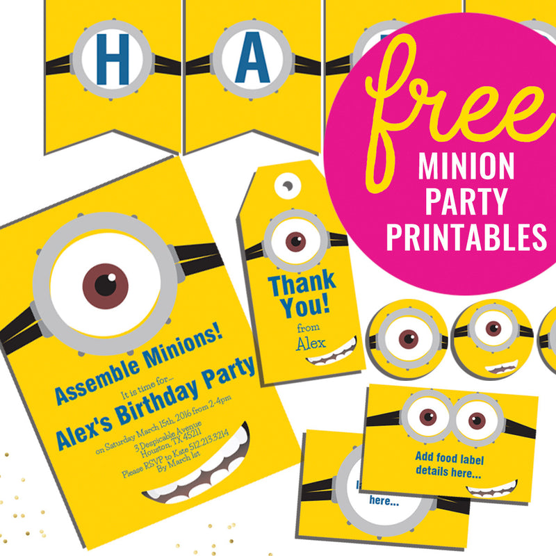 Totally FREE Minions Party Printables Set