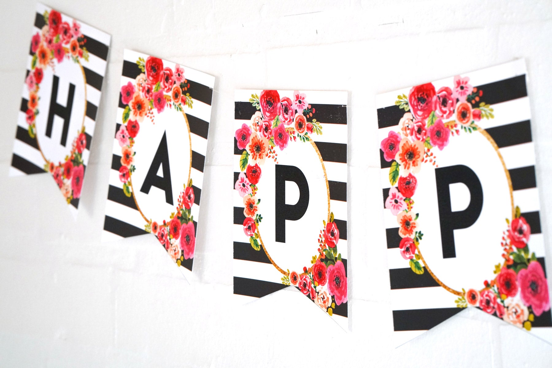Black And White Striped Floral Watercolor Birthday Banner