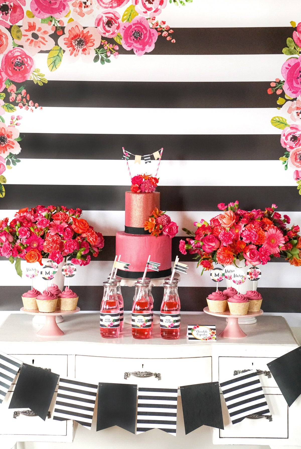 Black And White Striped Watercolor Floral Dessert Table Set-Up
