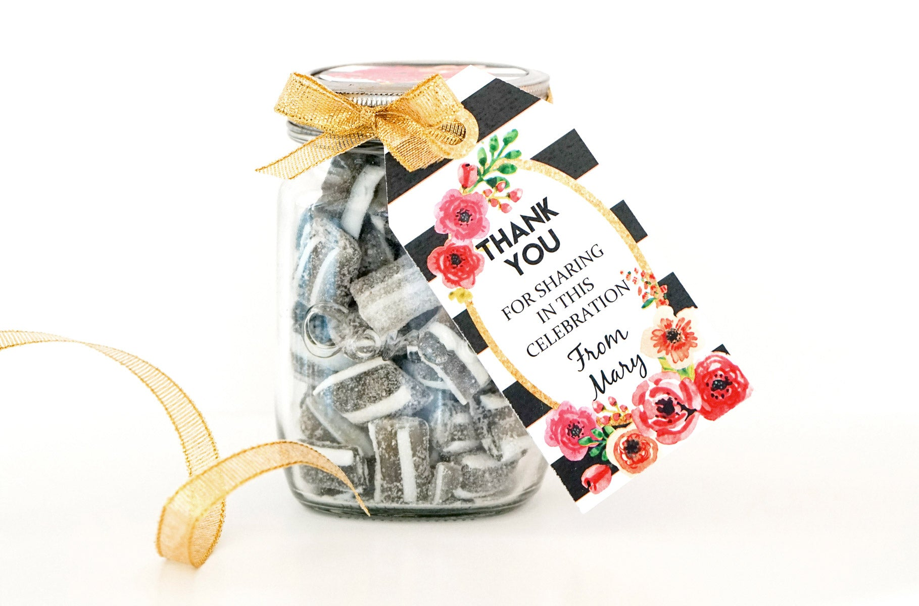 Black And White Striped Floral Watercolor Favor Tags
