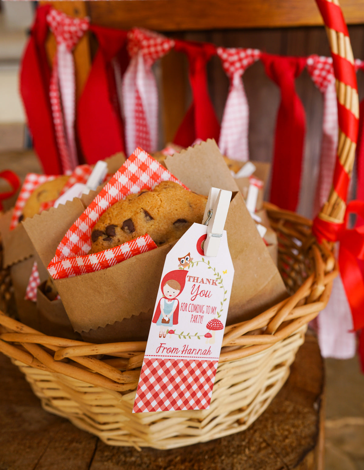 Red riding hood party favour tags