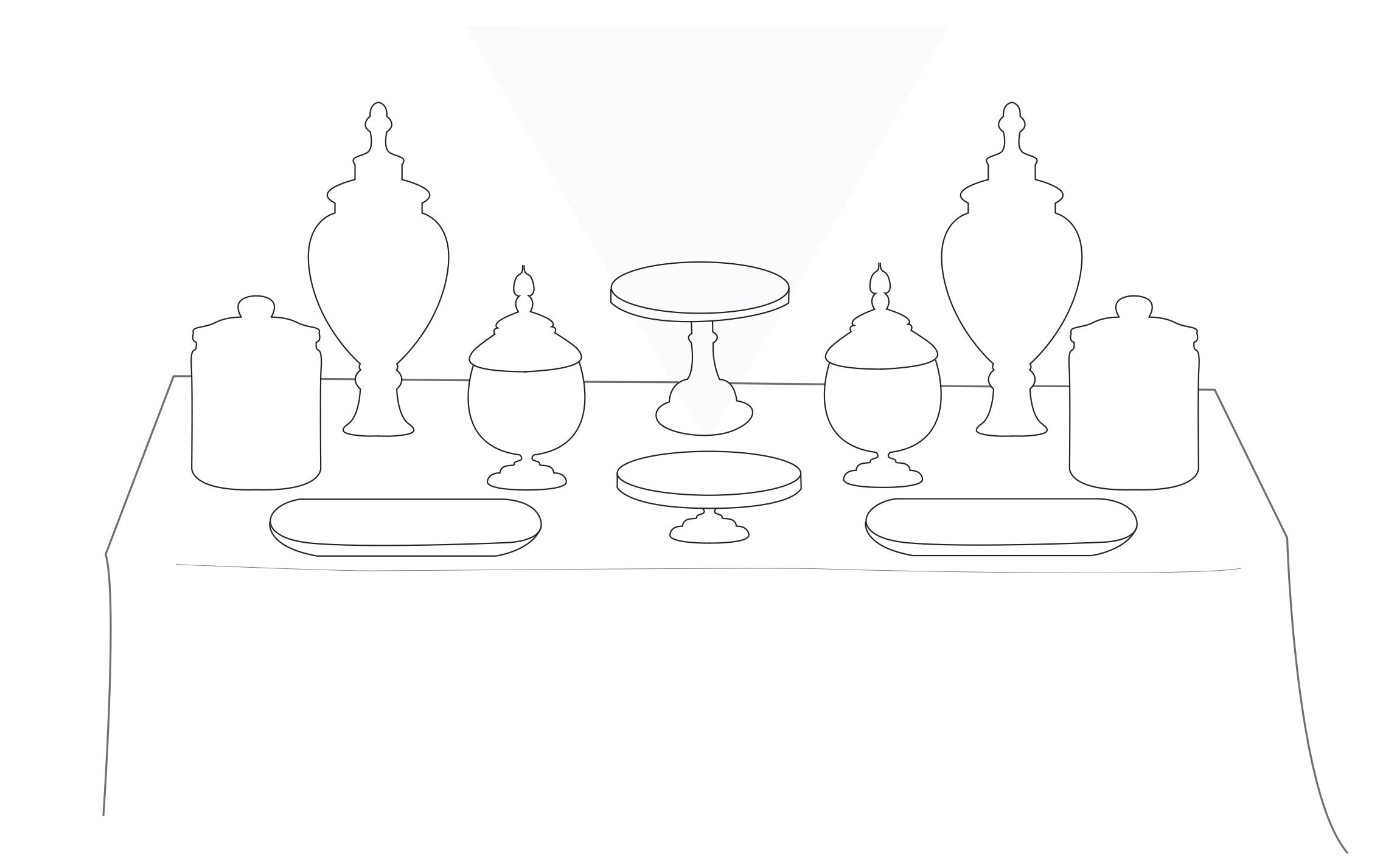 Triangle rules for party table set ups