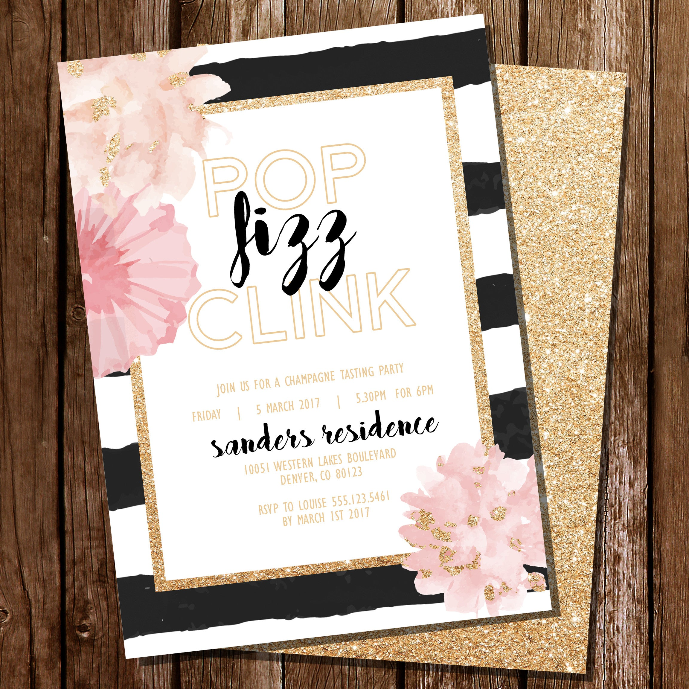 Pop Fizz Clink Invitation Download, Edit Print!
