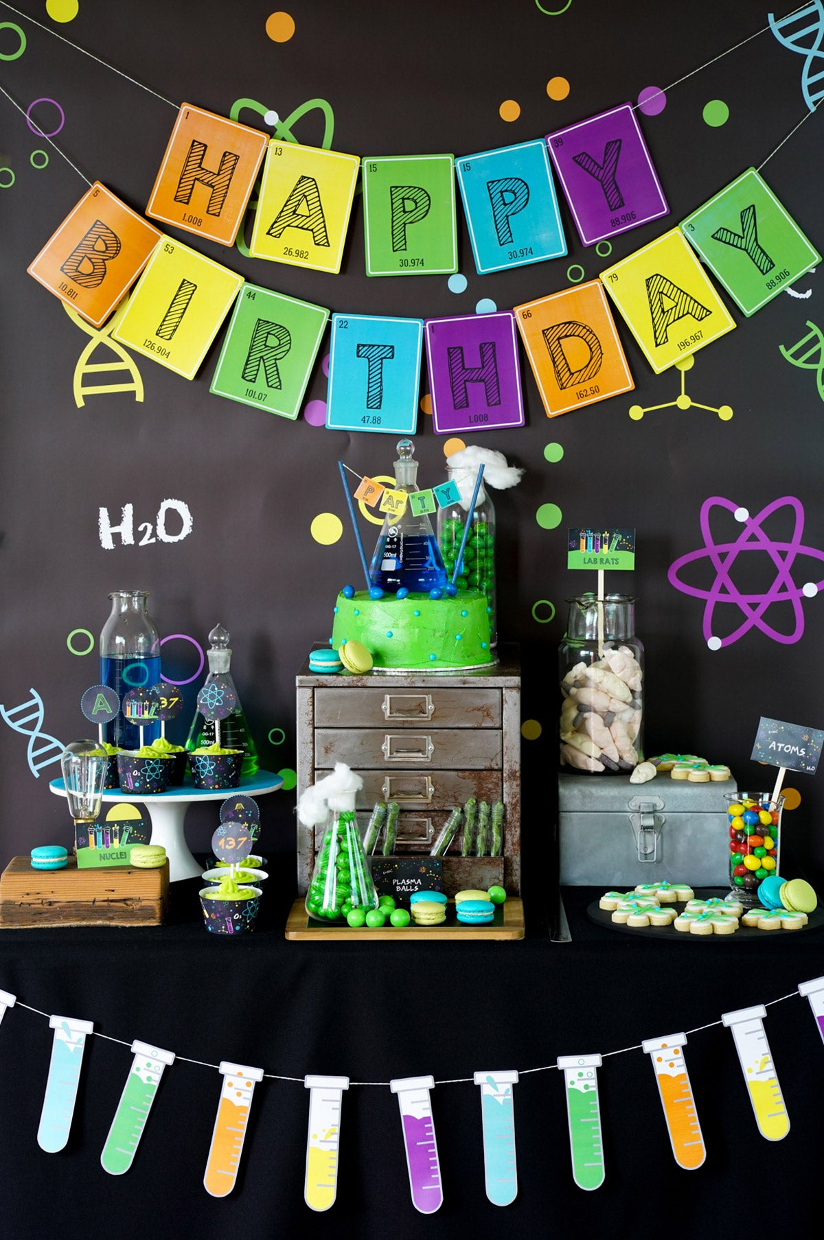 Science Experiment Party Dessert Table Set-Up