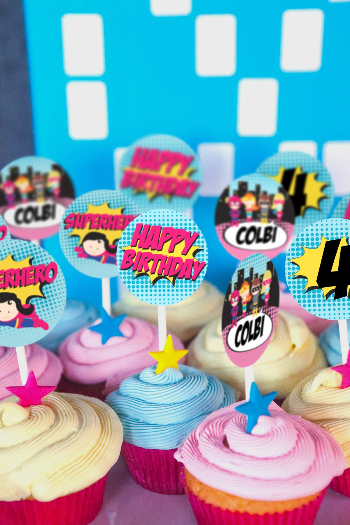 Superhero Birthday Party Cupcake Toppers