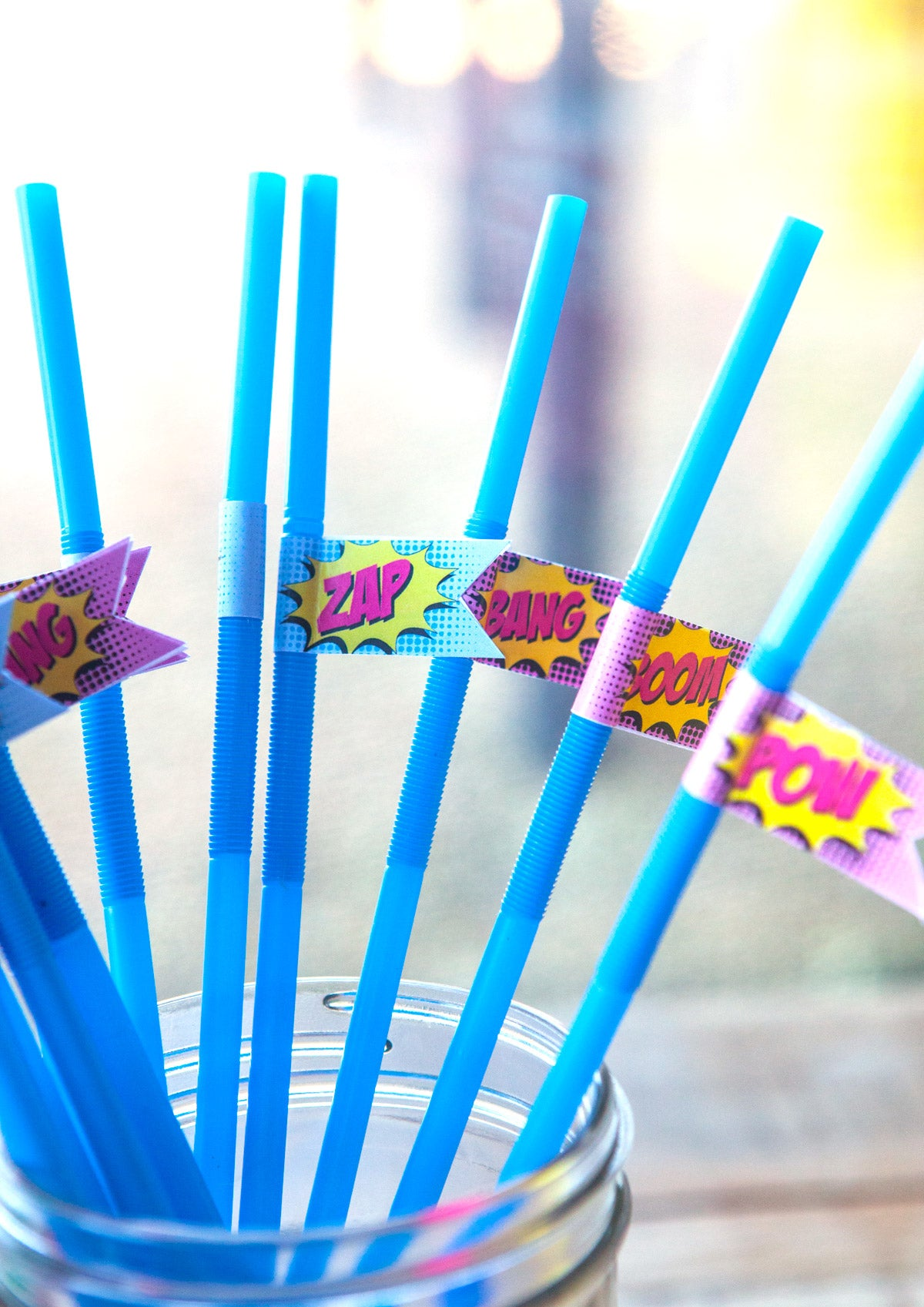 Superhero Birthday Straw Flags