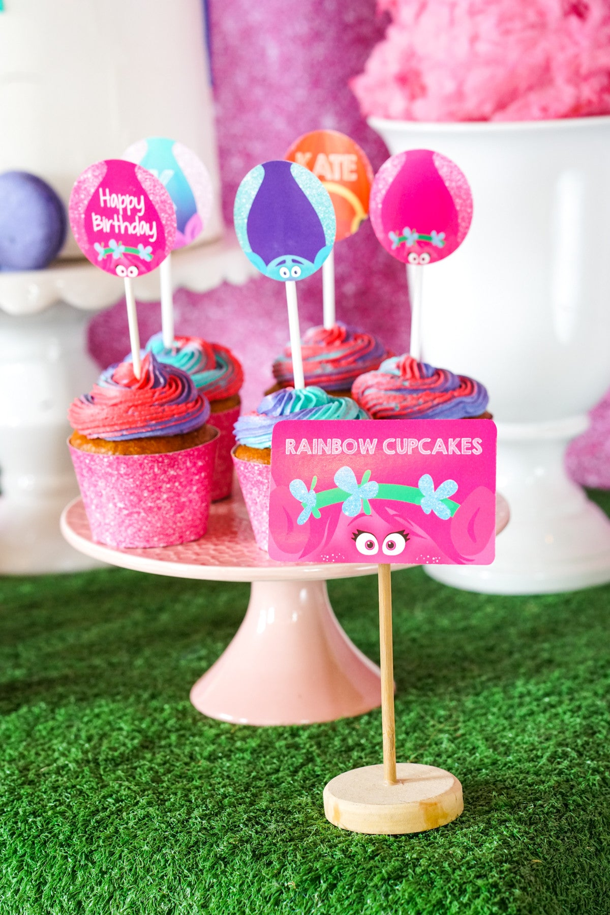 Free Trolls Party Cupcake wrappers and toppers