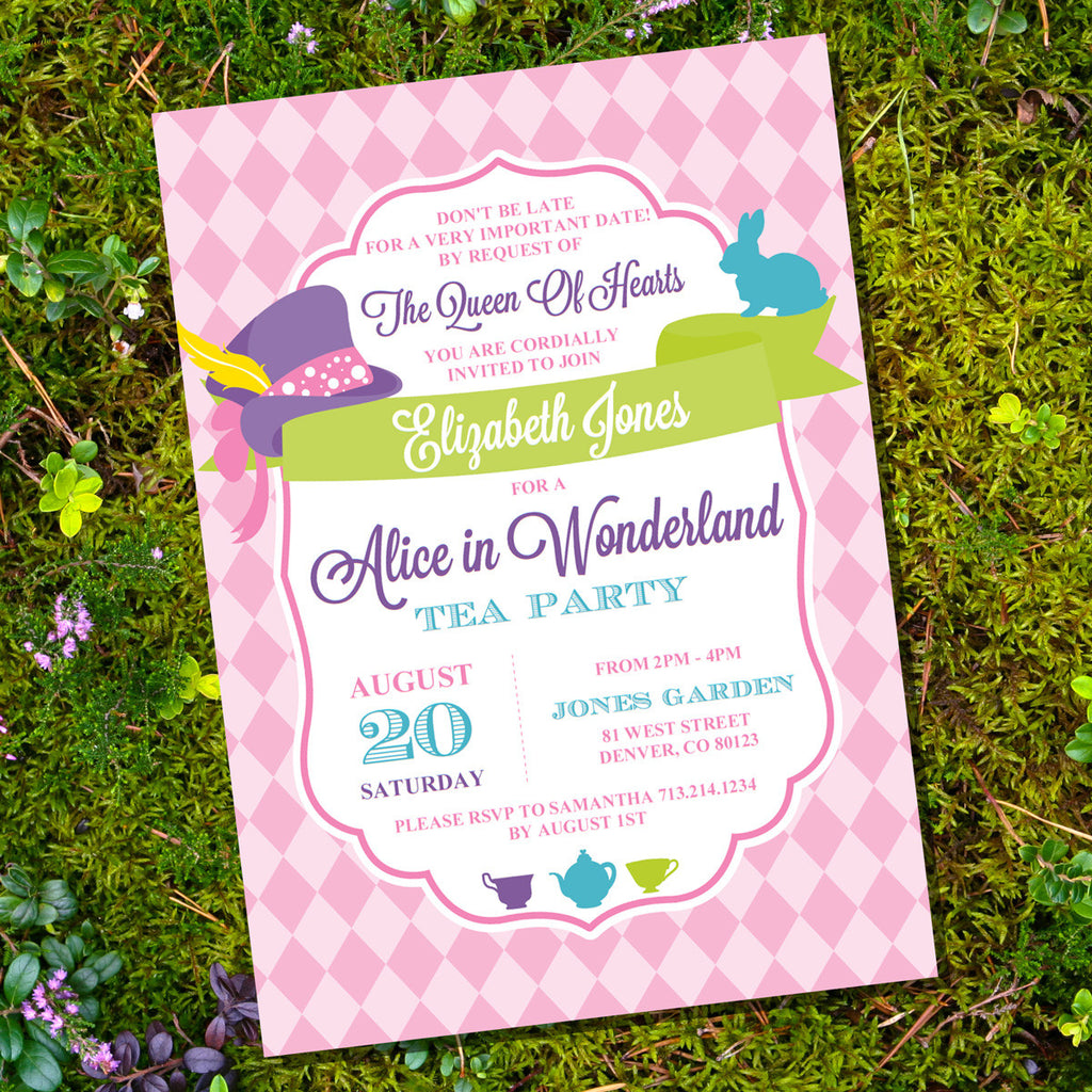 Mad Hatter Tea Party Invitation | Alice in Wonderland Tea Party Invite