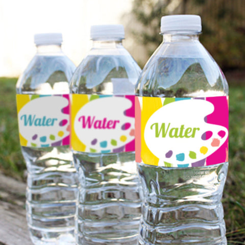 Art Party Water Bottle Labels for a Girl | Rainbow Art Party Drinks Labels