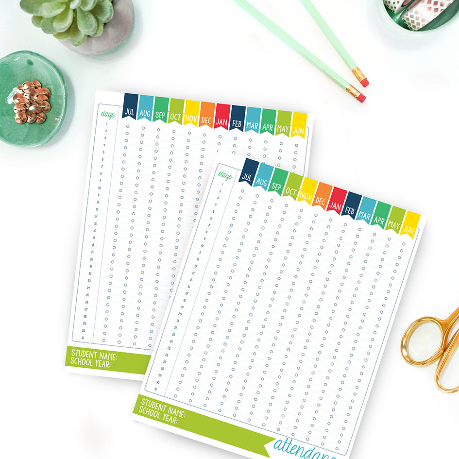 Homeschool Attendance Record Log | Homeschooling Attendance Chart Tracker Sheet