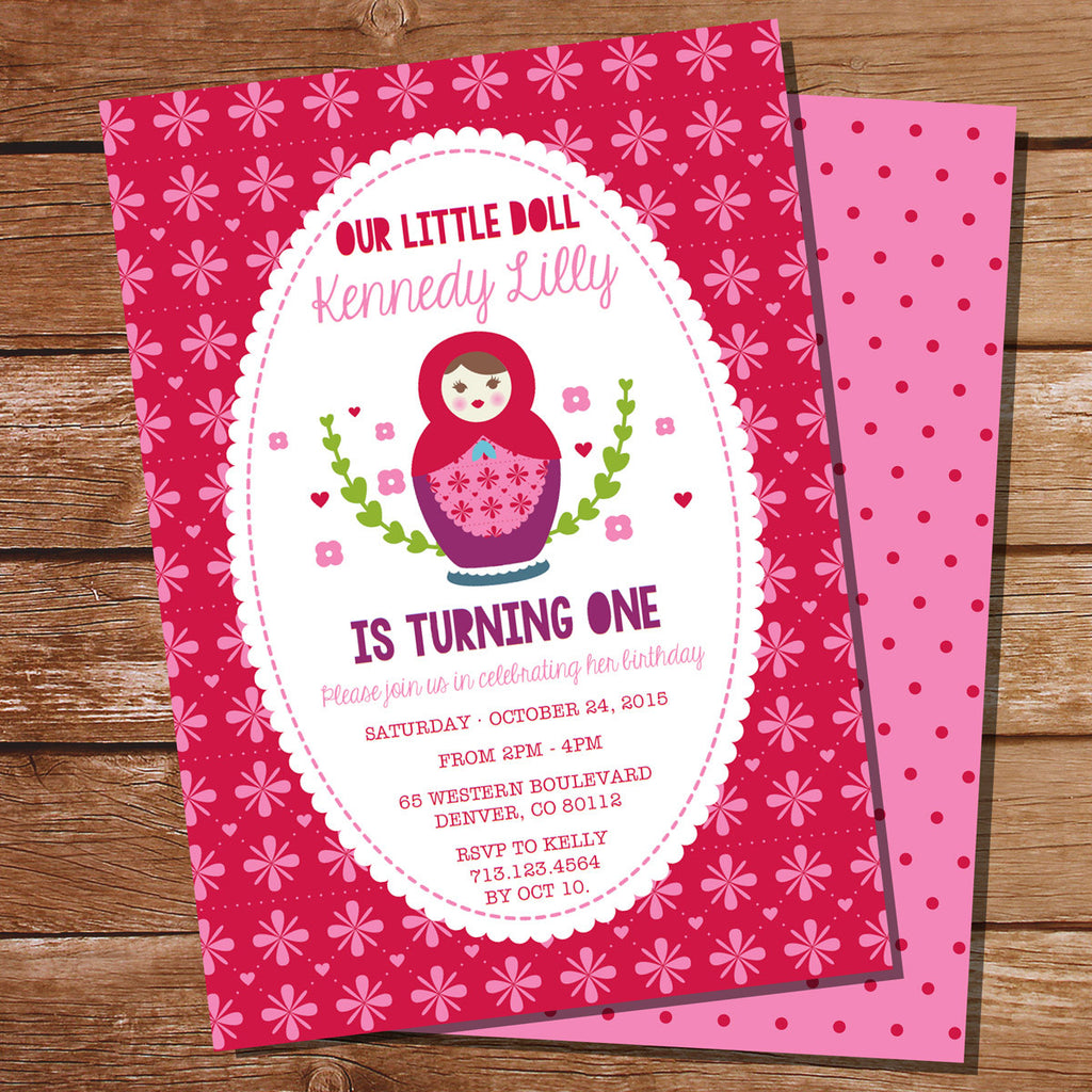 Babushka Doll Invitation for a First Birthday party for a little Girl