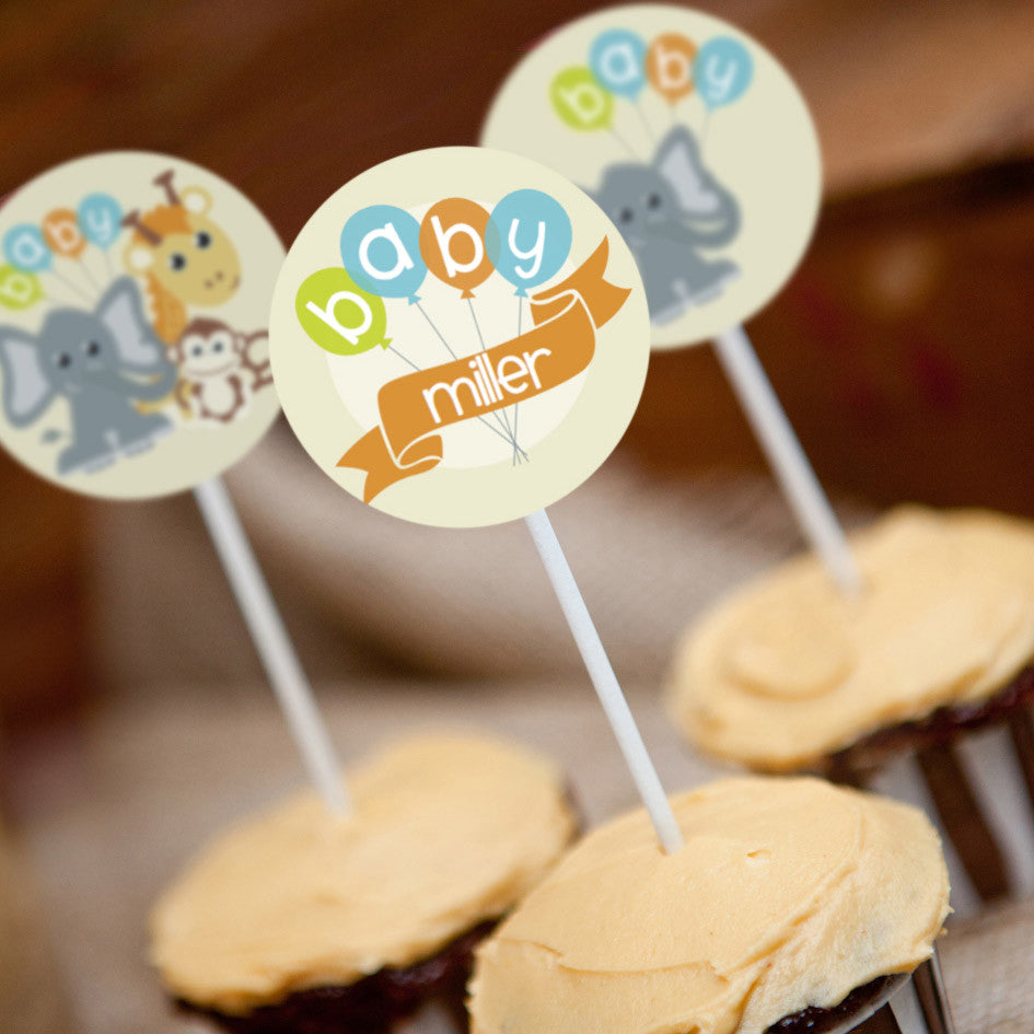 Jungle Safari Baby Shower Cupcake Toppers