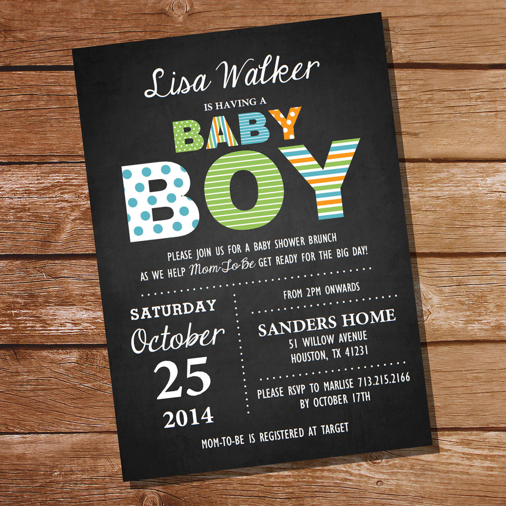 Chalkboard Baby Shower Invitation for a Boy | Printable Invitation ...