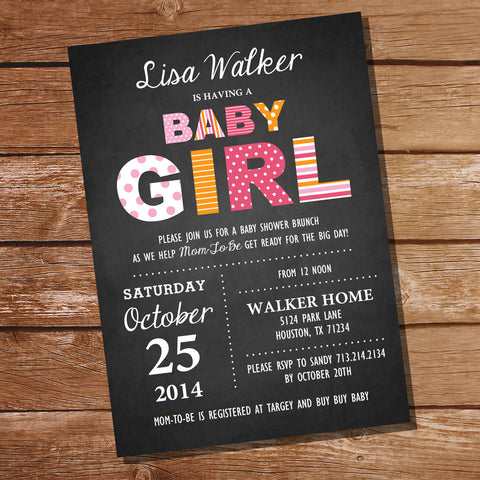 Chalkboard Baby Girl Shower Invitation