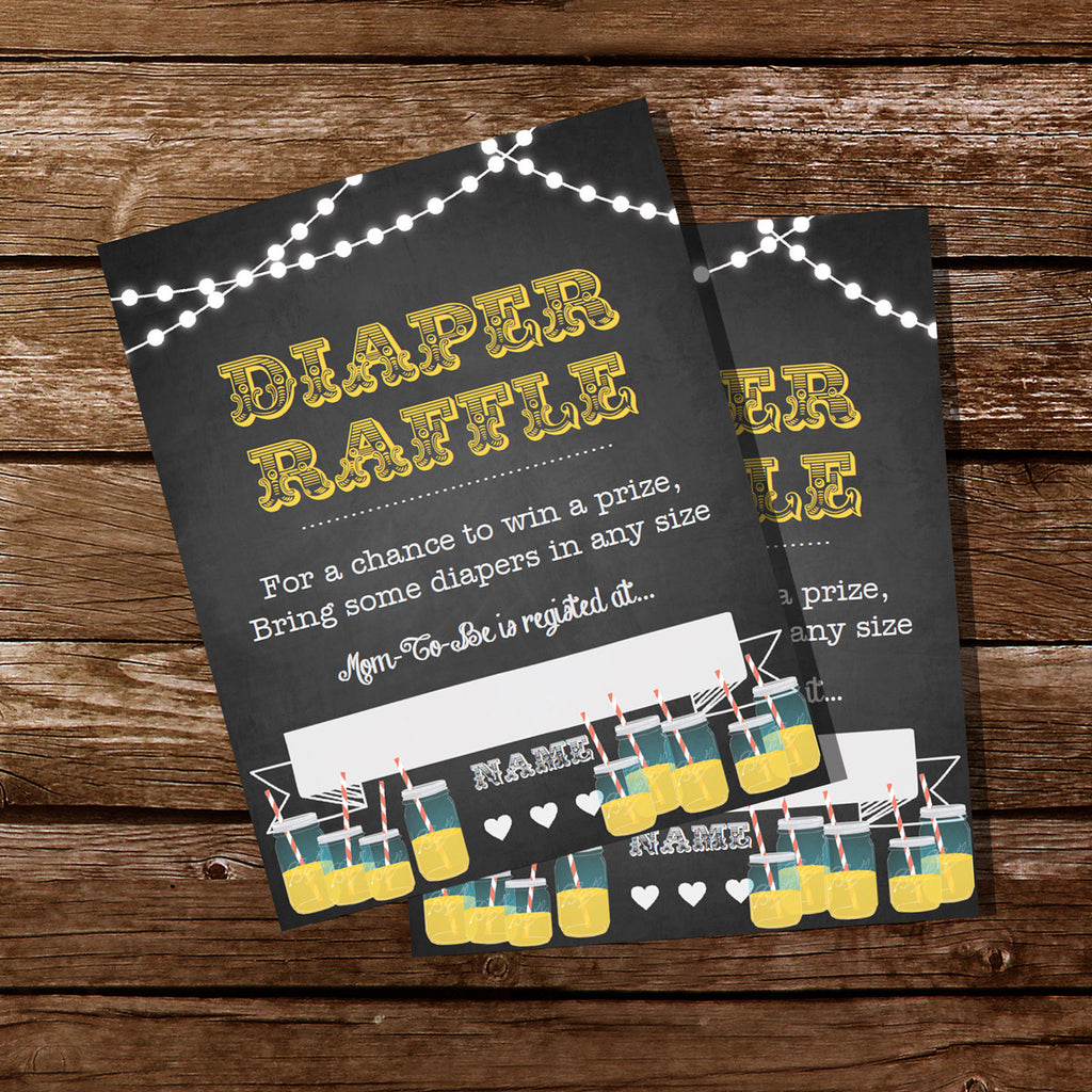 Baby is Brewing Baby Shower Diaper Raffle Cards