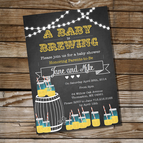 Baby is Brewing Baby Shower Invitation for a Boy or Girl